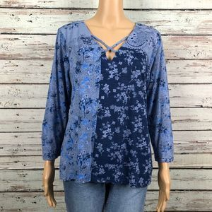 Lucky Brand Strappy Blue Floral Print Shirt Top